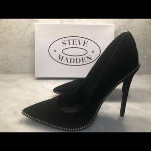 Brand new black suede high heels